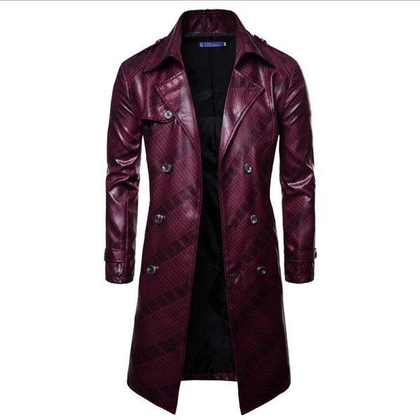 Designer Men's Trench Coats Autumn and Winter New Casual Lapel Double-breasted Imitation Leather Coated Coat Free Shipping