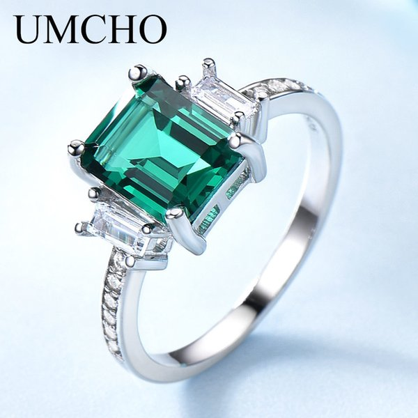 Umcho Green Emerald Genuine 925 Sterling Silver Rings For Women Promise Princess Gemstone Ring Wedding Romantic Jewelry Gift New Y19061203