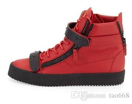 Größen 35-47 Neue Marke italienische Designer Männer Turnschuhe beiläufige Schuhe der Frauen echtes Leder Lace-Up des hohen Spitzen braun Doppel-Reißverschluss dekorativen