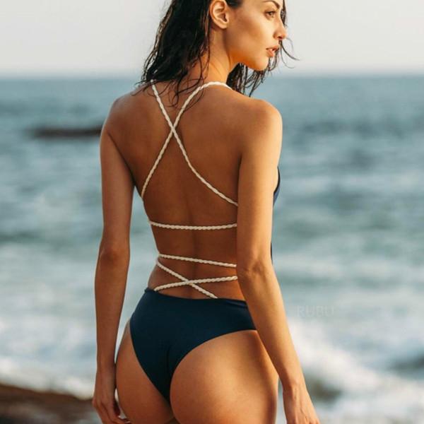 Badpak 2019 Sexy maiô de uma peça mulheres maiô fundido Swimwear feminino banhista Thong Backless Monokini Praia One Piece Maiô Y19062701