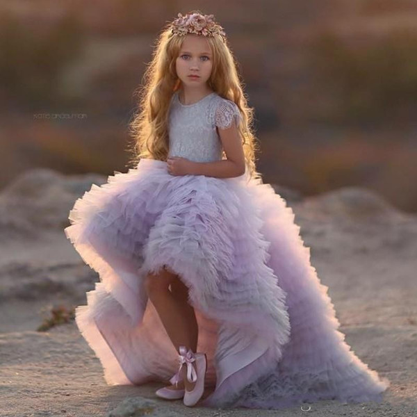 Gorgeous Cascading Tiered Girls Pageant Dress Jewel Neck Cap Sleeve Lace Top Flower Girl Dress Fashion High-Low Ball Gowns Birthday Dresses