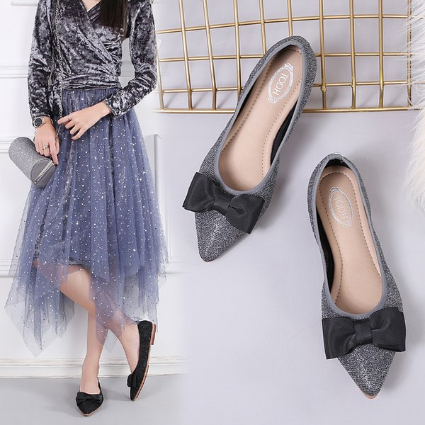 New women designer shoes ladies flat fashion pointed toe glitter leather ballet flats,ladies comfortable loafers crystal party dress shoes