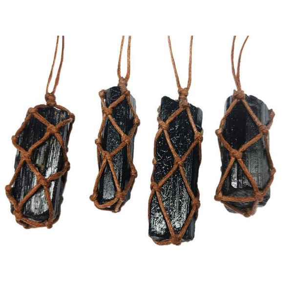 1 Pcs Natural Black Tourmaline Retro Raw Gemstone Pendant Crystal Hand-woven Jet Ore Radiation Protection Stone Craft C19041101