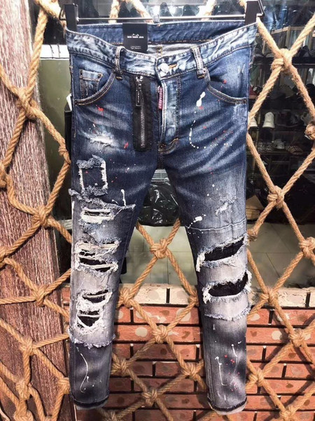 Best selling denim trousers men d2019 fashion high-end hole patch grinding micro-slim self-cultivation casual small straight foot male 9608
