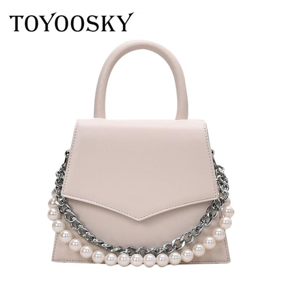 toyoosky vintage fashion female tote bucket bags 2020 new pu leather women's designer pearl chain handbag ins hot