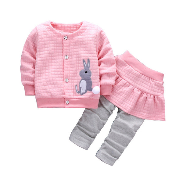 good qulaity Baby Girl Clothing Set Spring Autumn Infant Bebe Girl O-Neck Shirts+Skirt Pants 2pcs Set Toddler Korean Skirts Legging