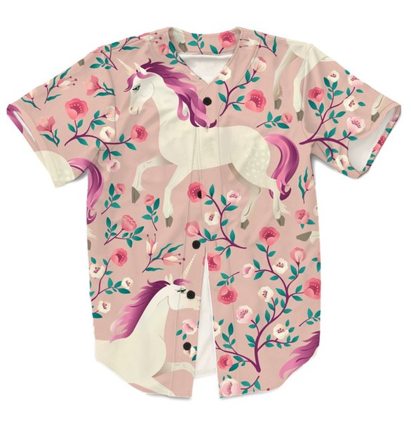 Real USA American Size Floral Unicorn 3D sublimation printing button up shirt jersey 3XL 4XL 5XL 6XL