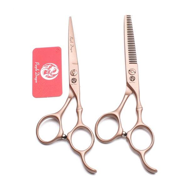 "6.0"" 17.5cm Stainless Purple Dragon Brand Rose Gold Barber Scissors Hairdressing Shears Cutting Shears Thinning Scissors Hair Scissors Z9030"