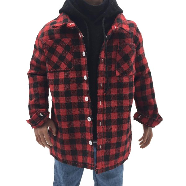wholesale 1/6 Scale Male Body Plaid Shirt Casual Wear Clothes Clothing For 12inch Action Figure Toys Doll Model