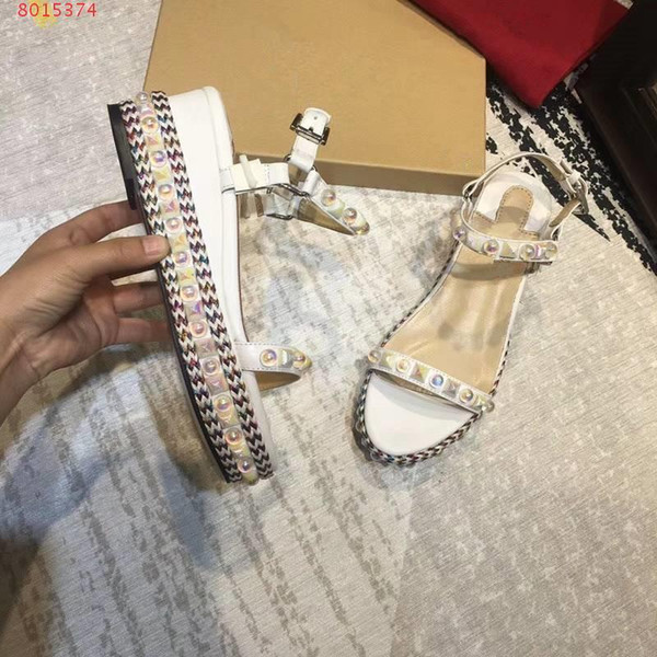Top quality Luxury fashion women ladys rivet beads knit pitch wedge sandals party shoes casual platform shoes pumps heel high 6.5cm