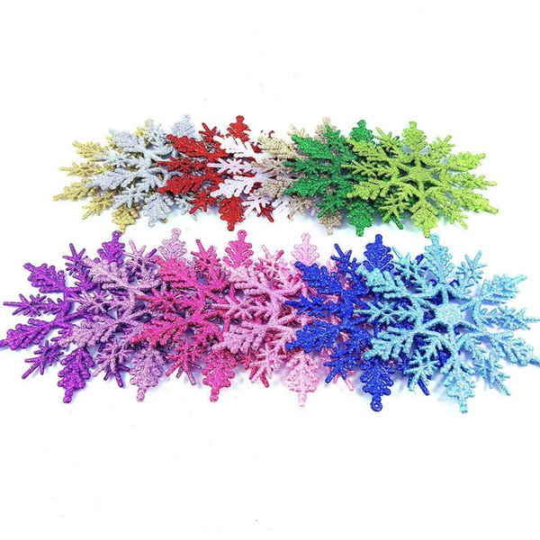 AsyPets 12Pcs 7Inches Glitter Christmas Snowflakes Hanging Pendants Christmas Xmas Tree Ornament Decoration