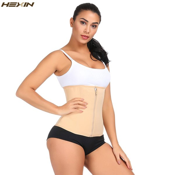 hexin women double layer waist trainer corset zipper body shaper for weight loss girdle tummy underwear shapewear