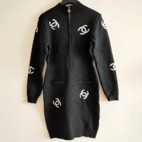 High quality [spot real shot] 2019 autumn thin long-sleeved letter knit knee long skirt female Slim temperament high-end 722265
