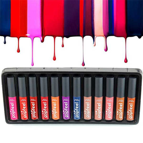 Yeni Varış popfeel 12 Renkler / Set Moda Makyaj Mat Ruj Seti Parlak Uzun Ömürlü Dudak Kalem Güzellik Kozmetik Ruj En Iyi Hediye kutu
