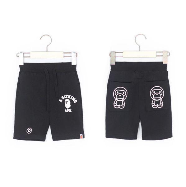 Kids cartoon beach shorts 2019 summer new girls boys monkey letter impreso doble bolsillo shorts niños algodón pantalones cortos ocasionales F5447