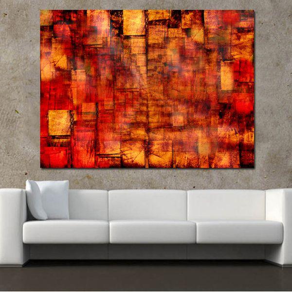 1 Painel Abstrato Poster Impressão Pintura Da Lona de Arte Da Parede Abstrata Vermelha Imagens Modulares para Sala de estar Decoração Fotos Sem Moldura