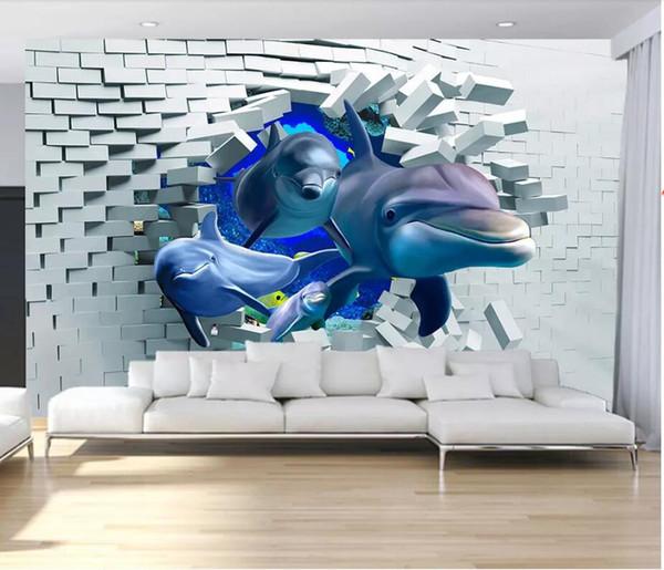 WDBH 3d Wallpaper Custom Brick Wall Broken Wall Deep Sea Animal Dolphin Room Home Decor 3d Wall Murals Wallpaper For Walls 3 D Hd Wallpapers A