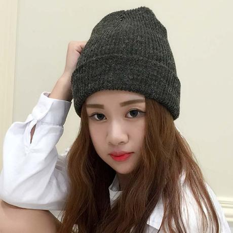 Rabbit hair knitted wool hat Korean version of the tide men and women casual wild mixed color autumn and winter warm earmuffs hat