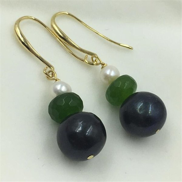 11-13mm barocco orecchini blu perla pavone gancio dorato naturale coltivato dangler partito reale earbob donne regalo gioielli di moda