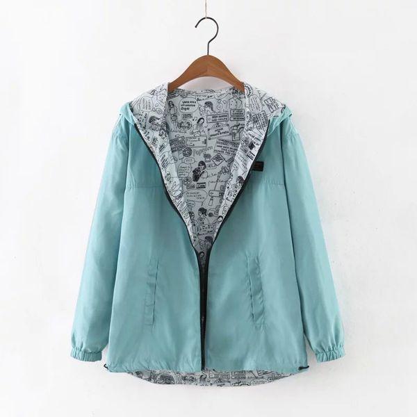 Las mujeres otoño chaqueta de bombardero básico bolsillo con cremallera sudaderas con capucha de las mujeres bilateral de dibujos animados de impresión desgaste outwear la capa floja