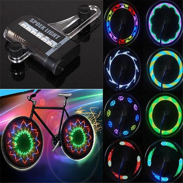 Vente en gros - 14 LED Coloré Vélo Vélo Roue Signal Signal Pneumatique Parlé Lumière Pour Ciclismo 32 Changements Nouvelle Luces Led Bicicleta Vélo Lumière