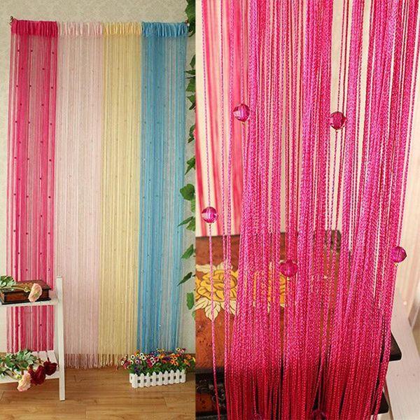 best selling Crystal Beads Tassel Silk String Curtain Tassel Curtain Window Valance Door Divider Sheer Panel Curtains dropshipping
