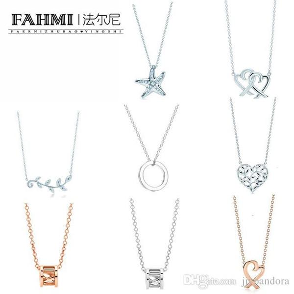 FAHMI Charm Gift 925 Sterling Silver Starfish Foglia di olivo Cuore TIF Attraente eleganza temperamento gioielli mondo braccialetto