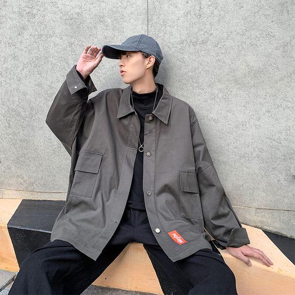 2019 Primavera y otoño Nuevos hombres coreanos Jóvenes Color sólido Moda Casual Marea Chaqueta salvaje Abrigo Gris Negro / Verde M-2XL
