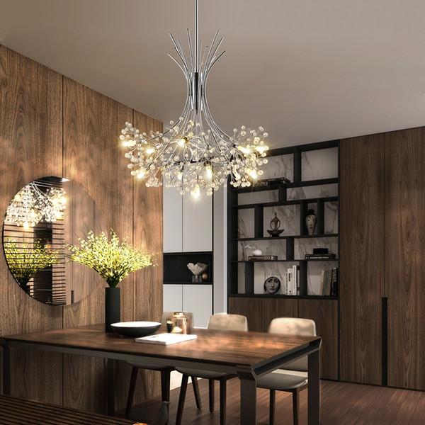 2019 Modern LED Chandelier Lighting Nordic Restaurant Pendant Lamps Bedroom  Fixtures Dining Room Crystal Hanging Lights Pendant Lamp Shades Glass ...