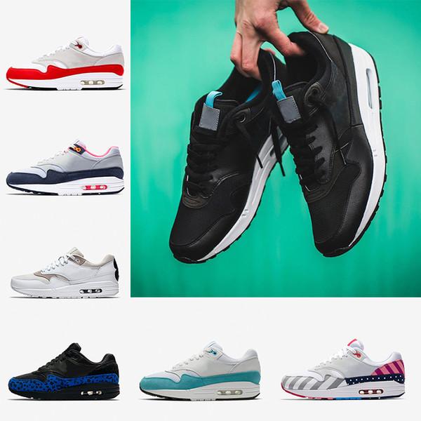 nike Air Max airmax 1 shoes 1s Mens Athletic Laufschuhe Tongue Pull Tabs schwarz weiß Trainer für Männer und Frauen What The Work Blau Hervorgehobene Modeturnschuhe