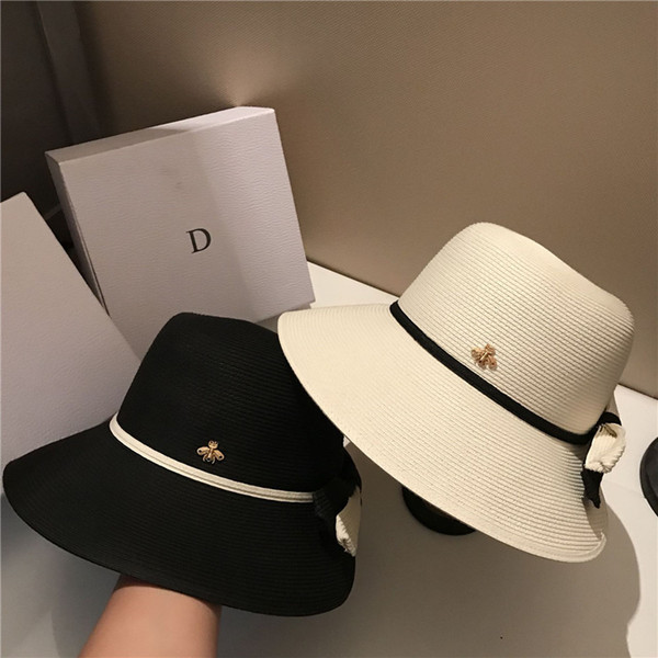 best selling Collapsible Holiday Beach Hats High Quality Sun Hat Womens Wide Brim Hats Tide 2 Colors Fisherman Hats Free Shipping