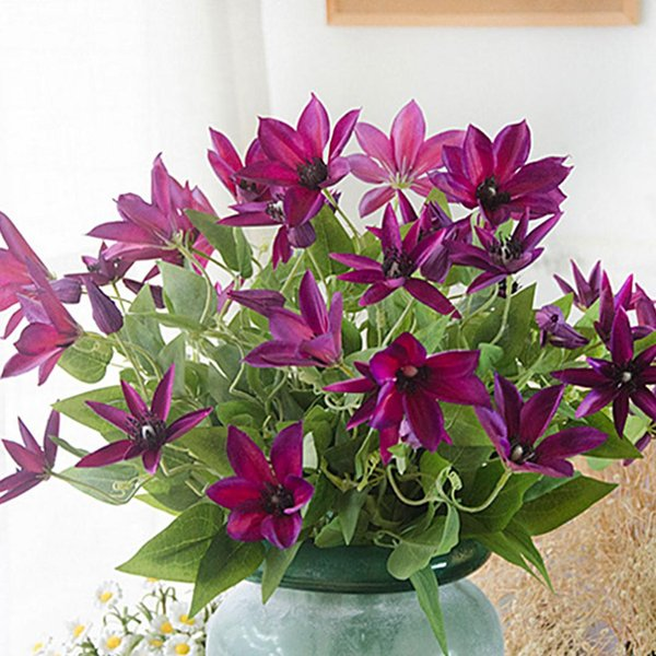 Best Three Branches Clematis Florida Thunb Vivid Artificial Flowers Plant Home and Garden Decoration 69cm Gift