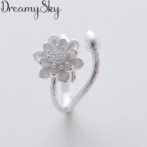 Bijoux 2019 New Designer 925 Sterling Silver Lotus Flower Rings For Women Adjustable Size Ring Party Gift Bridal Jewelry Anillos