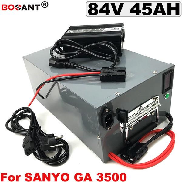 84V 45AH batteria al litio bicicletta elettrica con una scatola di metallo per originale SANYO 18650 cella E-bike batteria 84V 3000W + 5A Caricatore