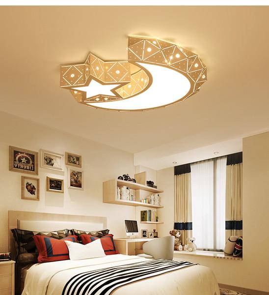 İskandinav Yıldız Ay LED Tavan Lambası çocuk Odası Yatak Odası Karikatür Erkek Kız Oturma Odası Yemek Odası için Modern Işık L118