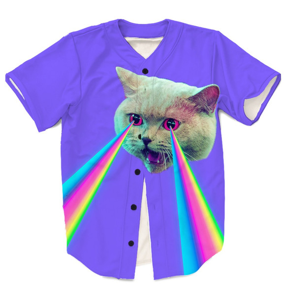 Real USA American Size Trippy Cool Cat 3D sublimation printing button up shirt jersey 3XL 4XL 5XL 6XL