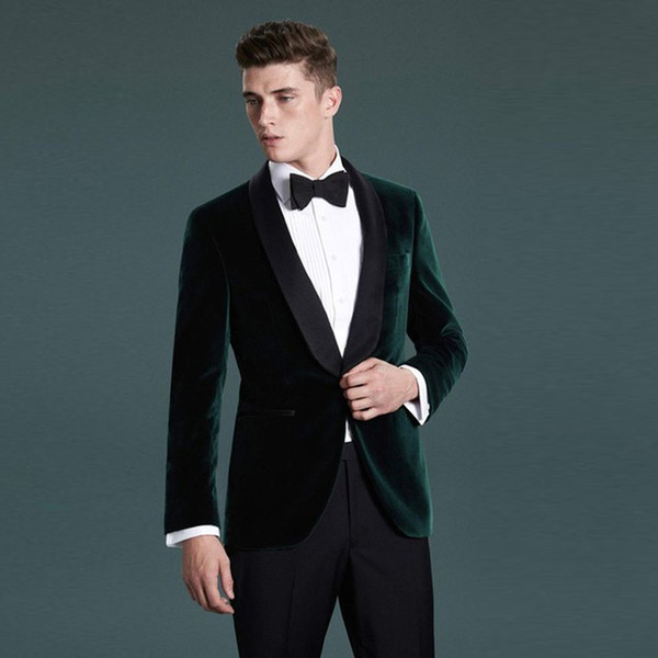 Shawl Lapel Groomsmen Dark Green Velvet Men Suit Groom Tuxedo Prom Wedding Best Man Blazer Slim Fit Suit Men 2018 (Jacket+Pants+bow)