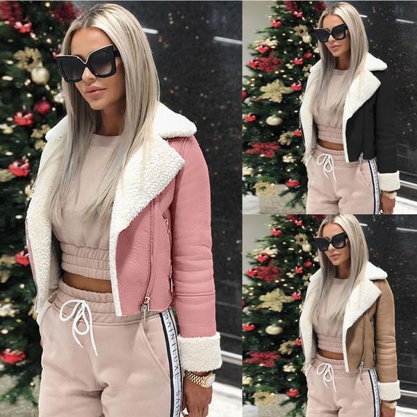 2018 Womens Lambs wool Leather Zip Buckle Pilot Coat Outwear Motorcycle Jacket