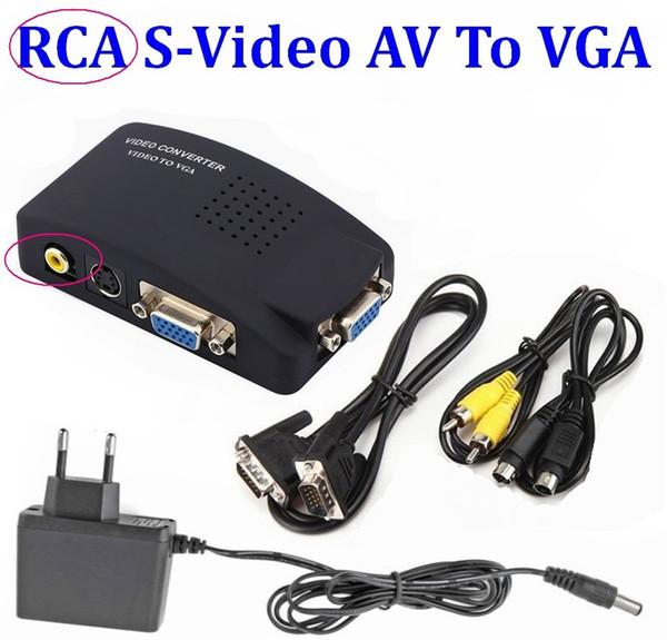 10Set PC Laptop Composite-Video TV BNC / RCA Composite-S-Video AV-Eingang PC VGA LCD-Ausgang Konverter Adapter Switch Box