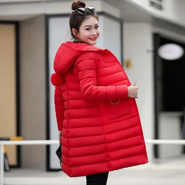 Giacca invernale 2019 Giacca da donna nuova moda Piumino sottile con cappuccio di grandi dimensioni Studente Donna Capispalla in cotone caldo spesso