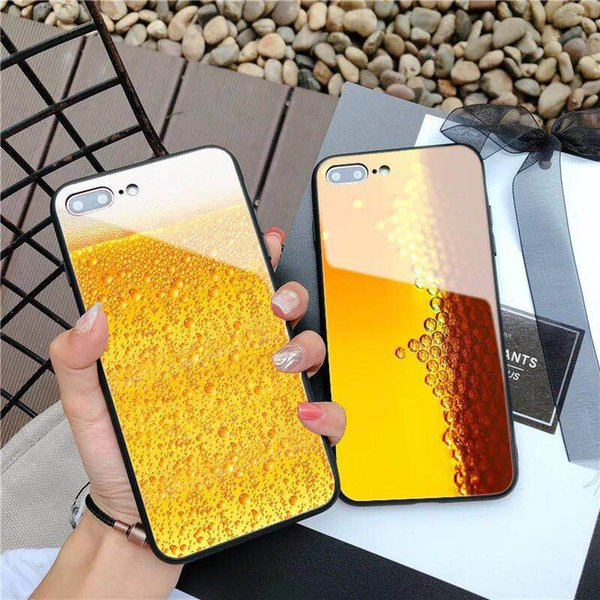 New cool beer glass for iphone X glass phone case for iphone 8 7 plus 6s creative men and women