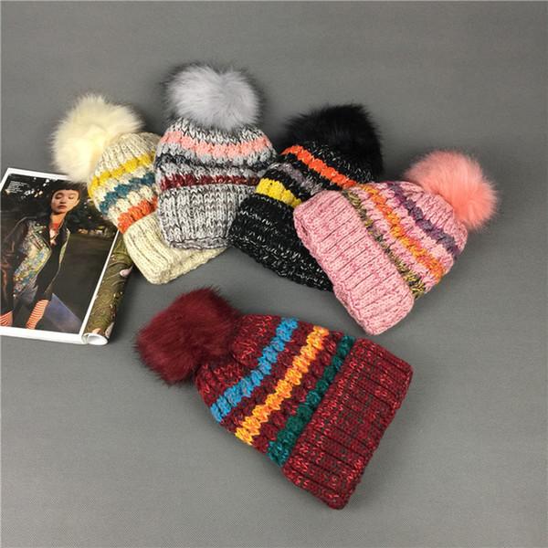 gorro de esquí cálido caliente gorro de lana gorro de punto arcoiris de color caramelo para mujer con suéter de borde enrollado gorro de invierno húmedo T2C5095