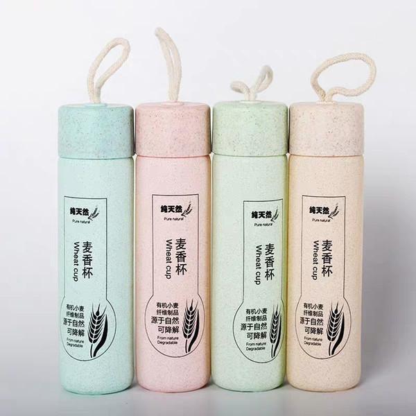 Bottiglie paglia di grano bicchiere d'acqua Liner logo personalizzato regalo Portable bottiglia di acqua 350ML 4 colori di colore scatola di imballaggio