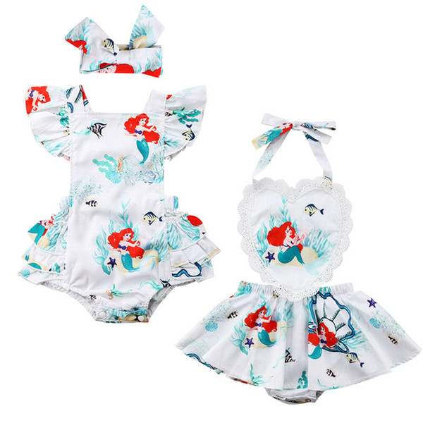 2019 Newborn Kids Baby Girls Lace Flying Sleeves Mermaid Bodysuit Dress Cute Headband Summer Jumpsuit Infants Outfit Clothes