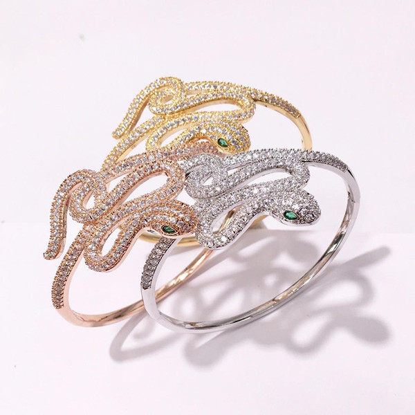 Hot fashion accessories spot Copper gold plated big style enchanting sexy full diamond snake bracelet