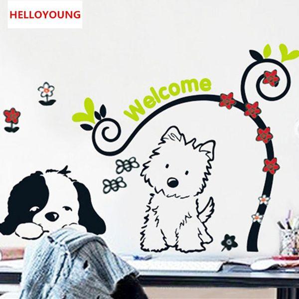 DIY Little Dog Cartoon Children Waterproof Mural Wall Sticker Bedroom Decor Waterproof Wall Stikers For Kids Room