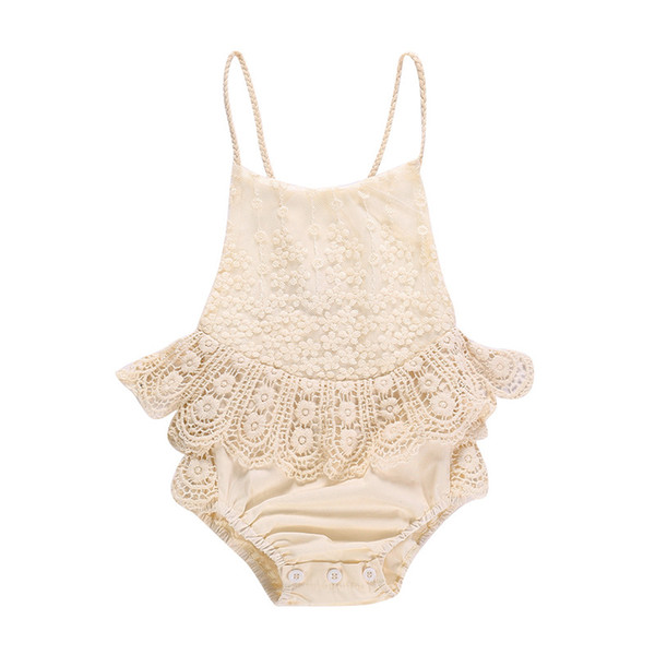 Summer Baby Girls Lace Romper Flower embroider Ruffle Princess Toddler Jumpsuit Sweet Spaghetti Strap Backless Infant Onesie Y2339