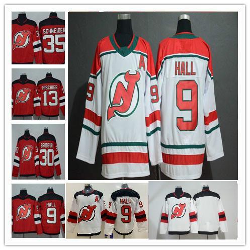 9 Taylor Hall 2019 New Jersey Devils Ice Hockey 30 Martin Brodeur 35 Cory Schneider Andy Greene Nico Hischier Red White Hockey Jersey
