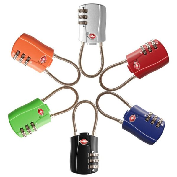3-stellige Kombination Vorhängeschloss TSA Schloss Gepäck Koffer Reisetasche Code Lock Schwarz Rot Gelb Blau Legierung Kombinationsschloss LX5735
