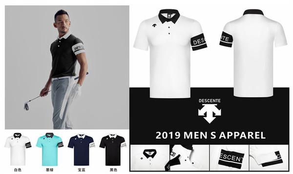 QMen Sportswear Short sleeve DESCENTE Golf T-shirt 4colors Golf clothes S-XXL in choice Leisure shirt Free shipping